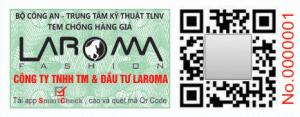 Tem xác thực điện tử Smartcheck có Qrcode phủ cào của Laroma