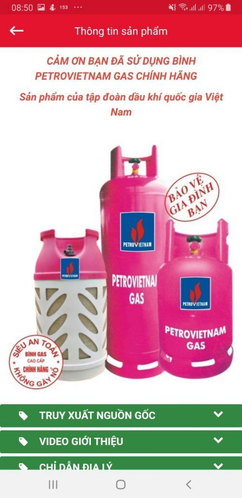 Hình ảnh quét truy xuất nguồn gốc trên gas chính hãng